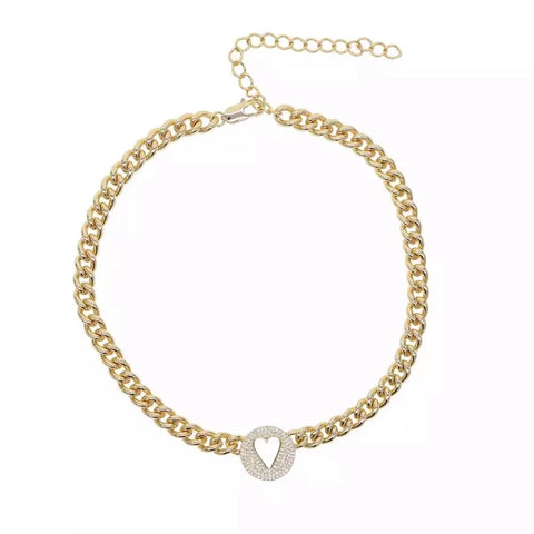 Pave Heart Chain 18k Gold Plated