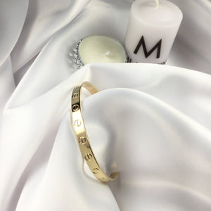 Famous Brand Inspired Screw Half Cuff Bracelet 18k Gold Plated