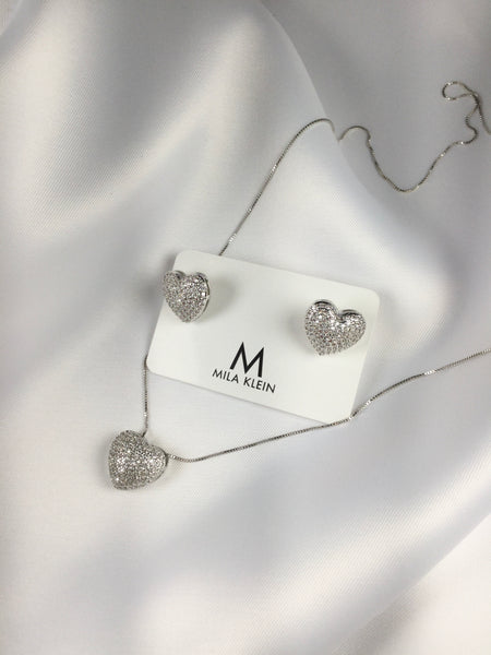 Heart Necklace White Rhodium and micro zirconia