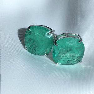Luxury Square Stud Earrings Colombian Emerald
