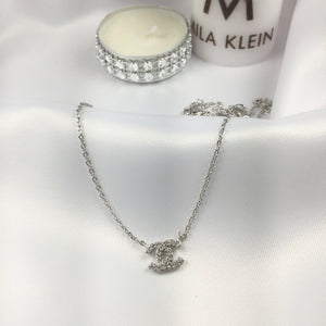 Small Famous Brand Inspired Necklace White Rhodium