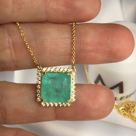 Delicate Square Greenery Stone Necklace and Diamondettes 18K Gold Plated