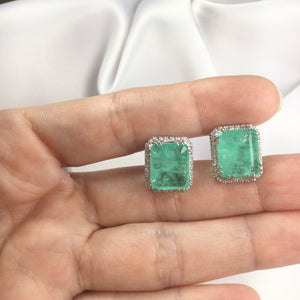 Rectangle Earrings Colombian Emerald and Diamondettes