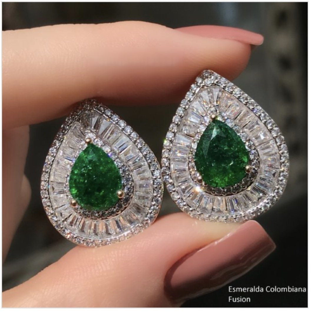 Emerald Drop Statement Earrings Crystal Baguettes and 18k Gold Plated