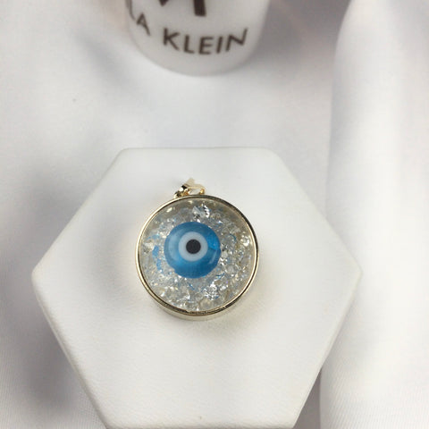Evil Eye and Crystals Pendant 18k Gold Plated