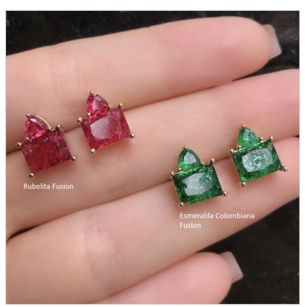 Earring Triangle and Rectangle Crystal Stone 18k Gold Plated