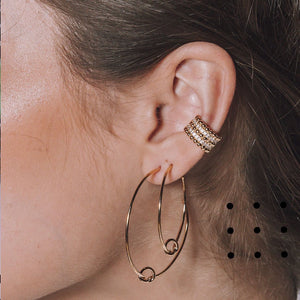 Fancy Clip on Ear Cuff Spheres and cz 18k Gold Plated