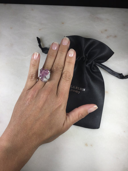 Delicate Pink Tourmaline Silver Plated simple band Ring Adjustable