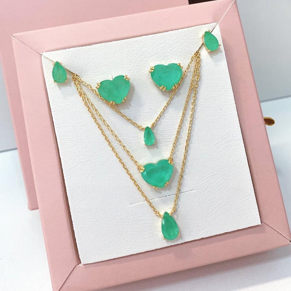 Heart Greenery Stone Necklace 18k Gold Plated
