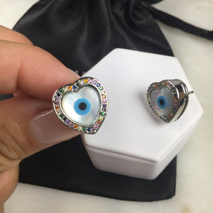 Heart Mother of Pearl Evil Eye Earrings and zirconia
