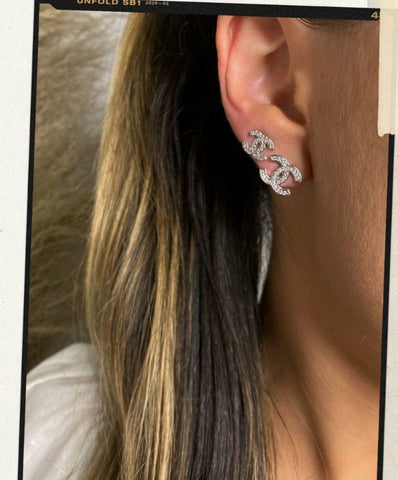 Silver Famous Brand Inspired Delicate Stud Earrings and Diamondettes