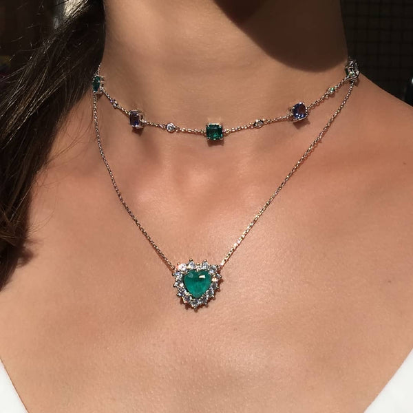 Heart Necklace Tourmaline and zirconia