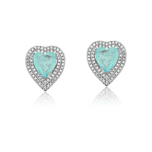 Heart Earrings light blue and Diamondettes