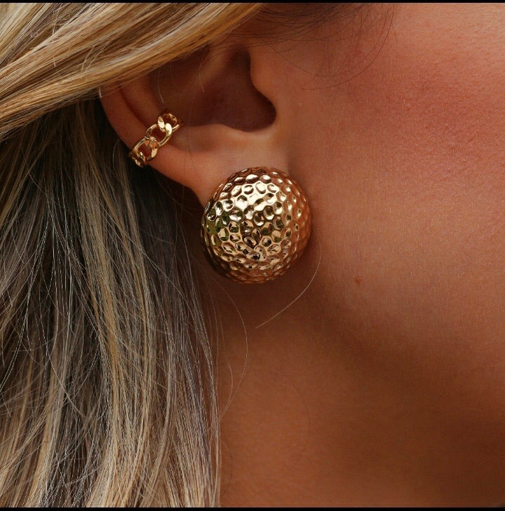 Round Texturized Earrings 18K Gold Plated
