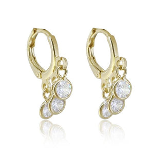 Mini hoop earring 18k gold + crystal
