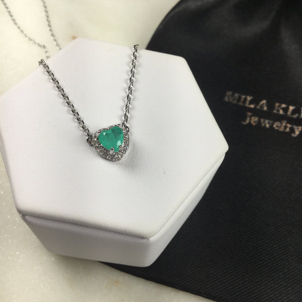Mini necklace heart Colombian emerald fusion and zirconia