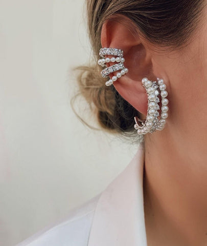 Ear Cuff Clip on White Rhodium and Pearls