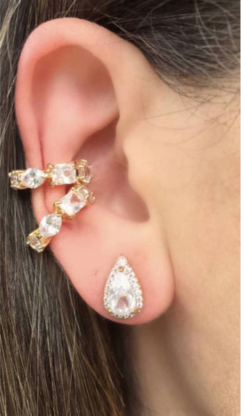 Ear cuff geometric crystal 18k gold plated