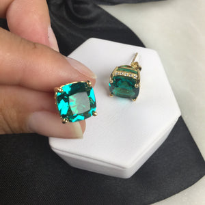 Emerald Crystal square Earring and micro zirconia 18K Gold Plated