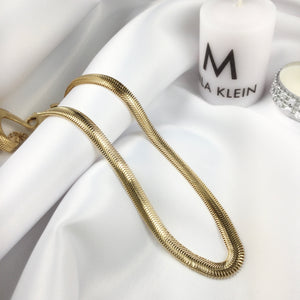 "15"" Herringbone Chain Necklace 18k Gold Plated"