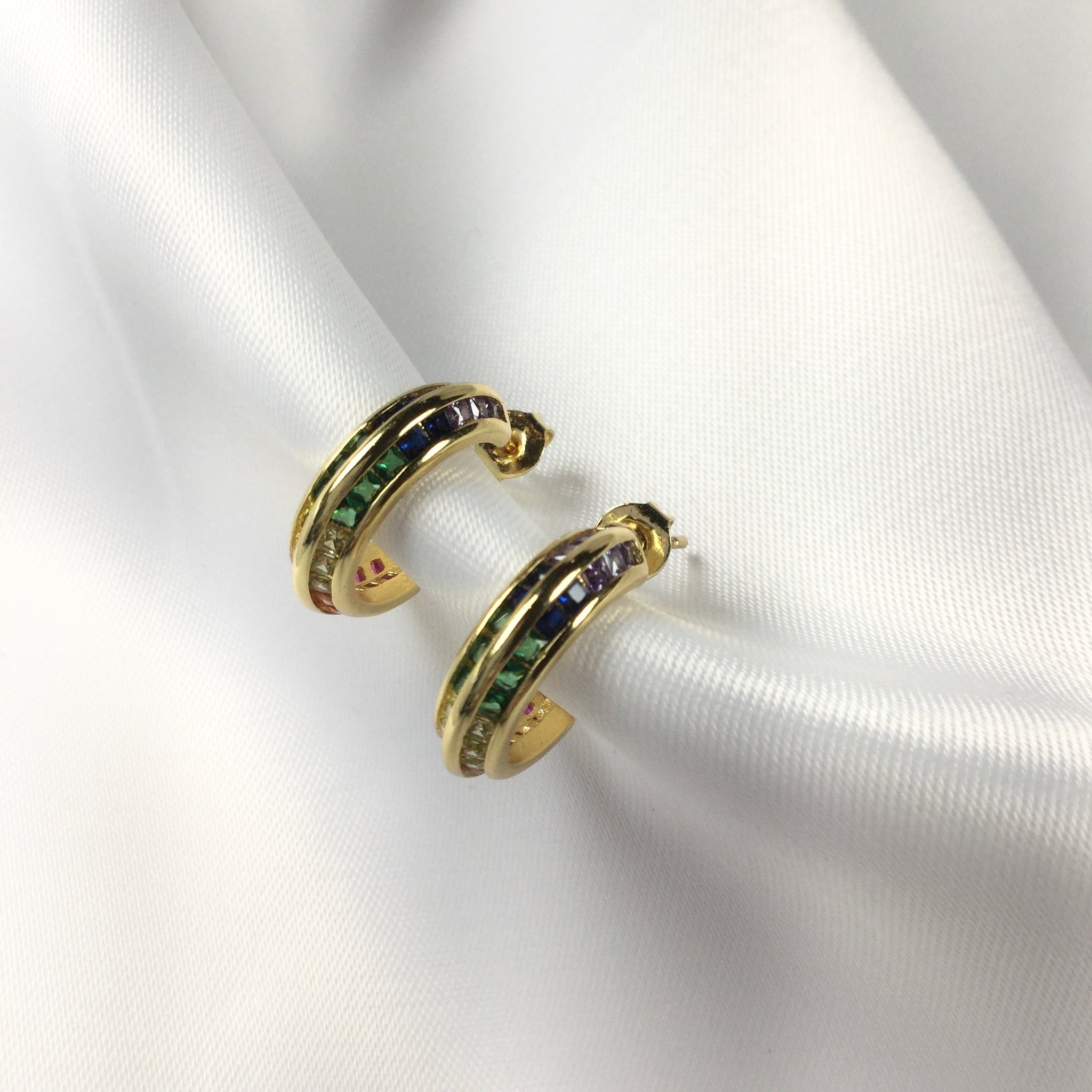 Fancy Colorful Hoop Earrings 18k Gold Plated