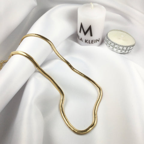 "13"" Herringbone Choker 18k Gold Necklace"