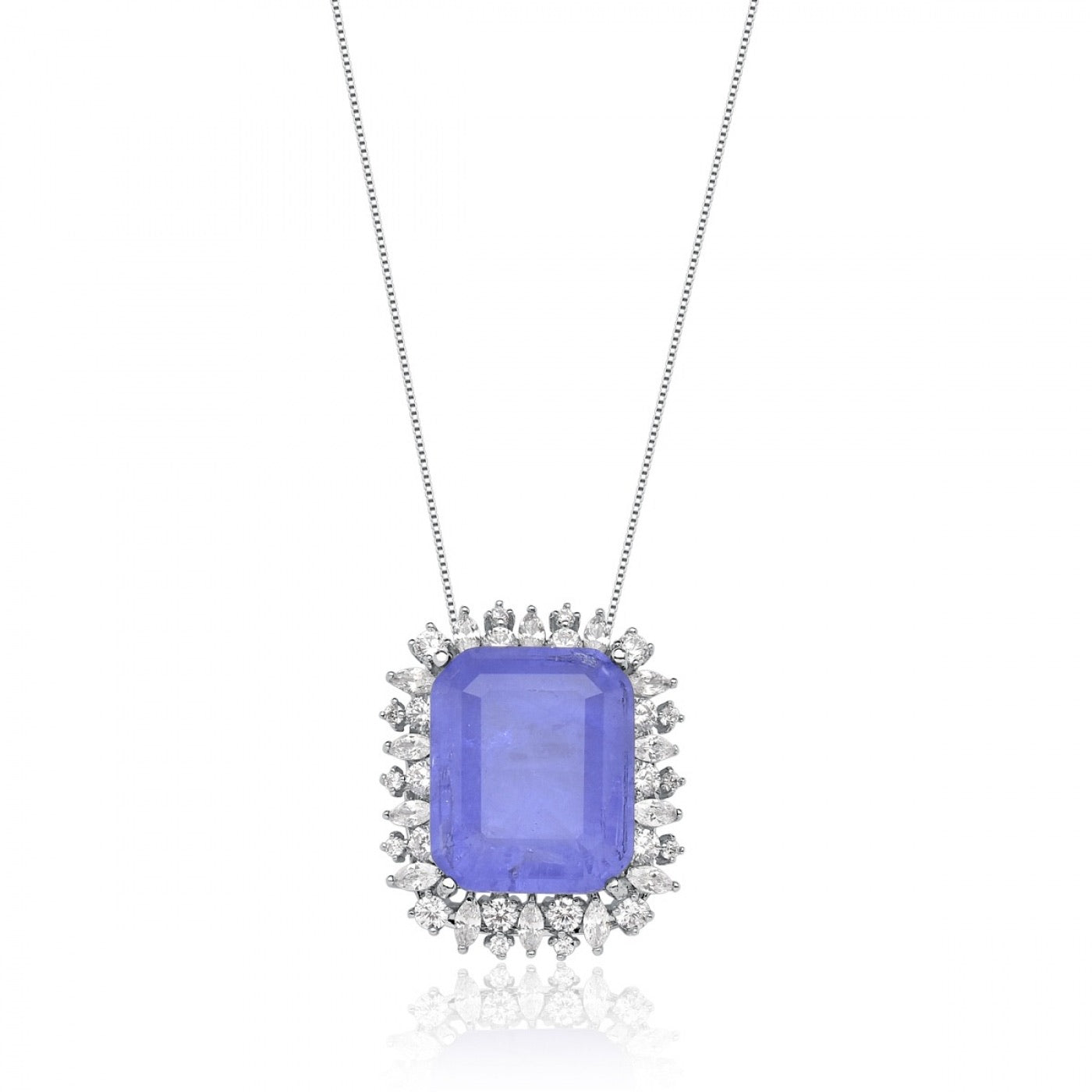Rectangle Lavender fusion stone Necklace
