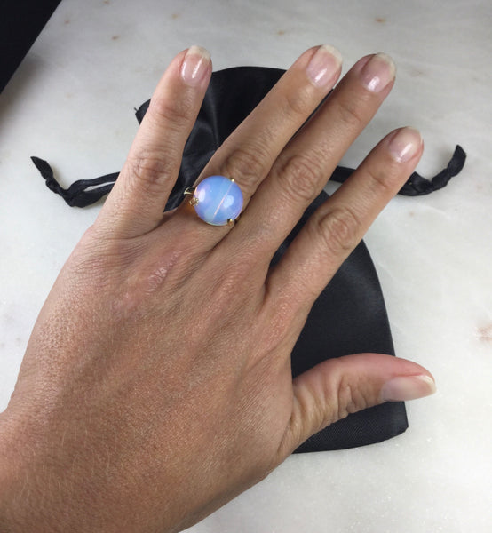 Delicate Opal simple band Ring 18K gold Plated Adjustable