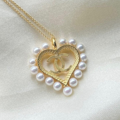 Famous Brand Inspired Heart Necklace 18k Gold Plated Pearls