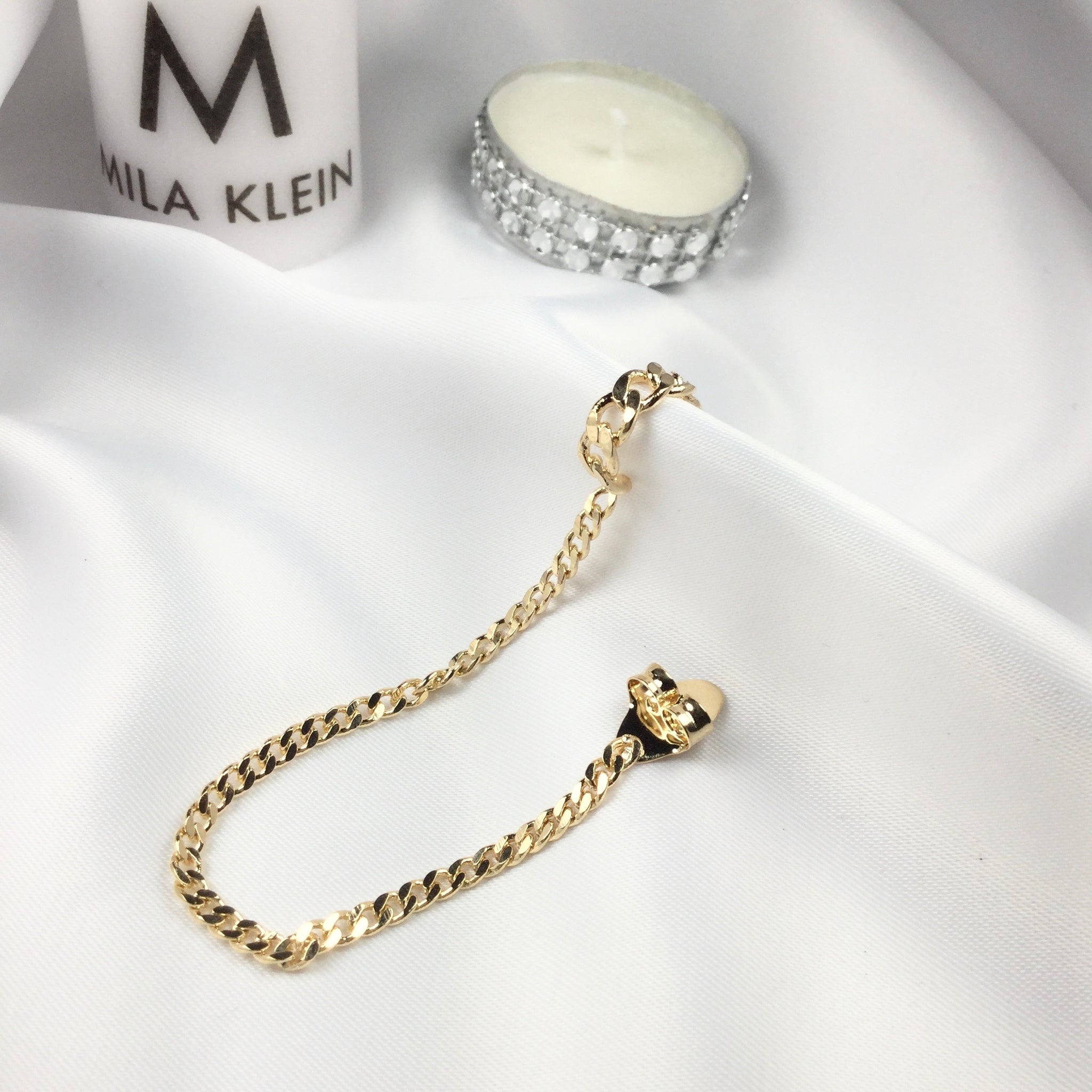 Famous Brand Inspired Chain Link One Side Clip On 18k Gold Plated