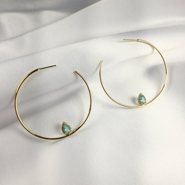 Acqua Fusion stone Hoop Earring 18k Gold Plated