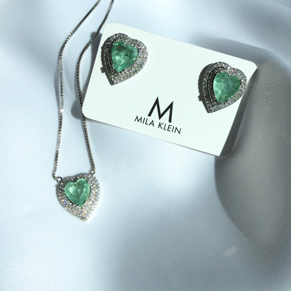 Greenery Heart Necklace and Diamondettes