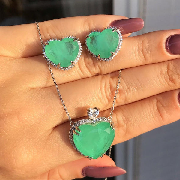 Colombian Emerald Heart Necklace and Premium Zirconia White Rhodium