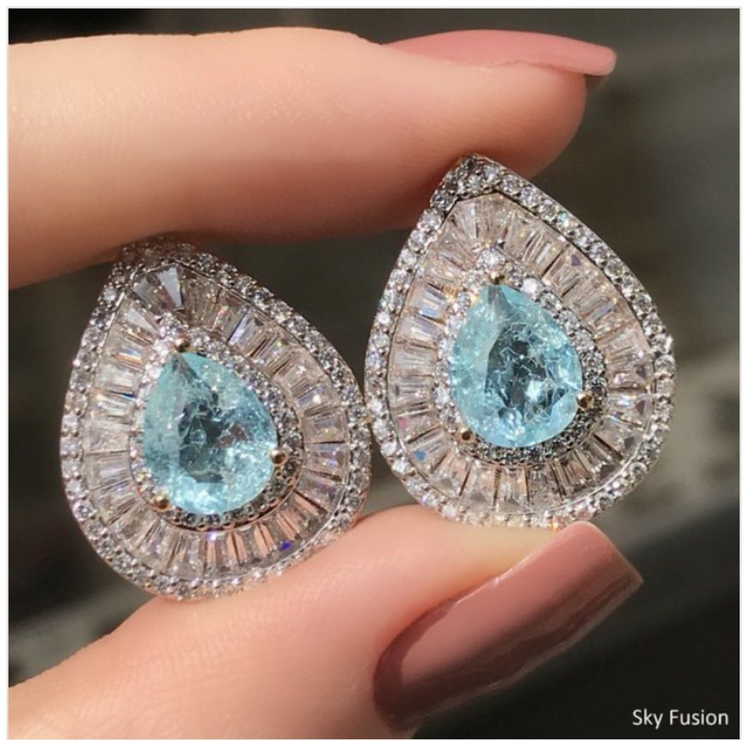 Sky Blue Drop Statement Crystal Baguettes Earrings 18k Gold Plated