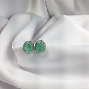 Oval Earrings Greenery and Diamondettes