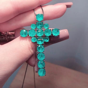 Cross Necklace Colombian Emerald - Mila Klein