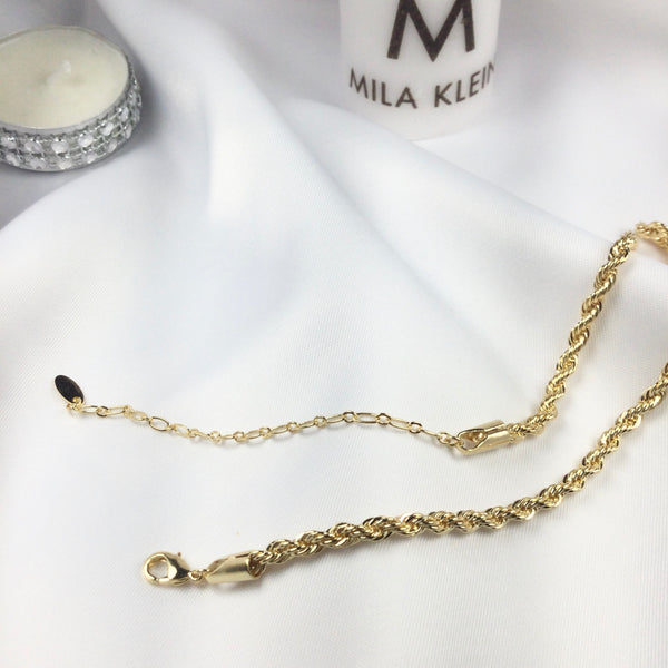 Rope Twist Chain Choker Necklace 18k Gold Plated