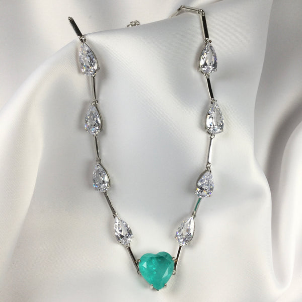 Luxury choker Colombian emerald fusion and crystal