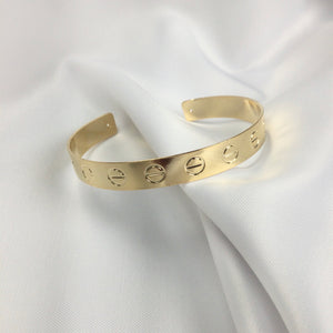 Famous Brand Inspired Half Cuff Bracelet 18k Gold Plated