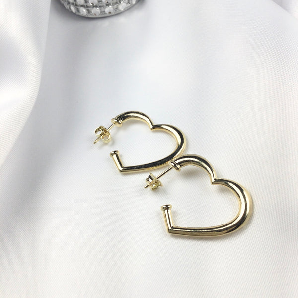 Heart Hoop Earrings 18k Gold Plated