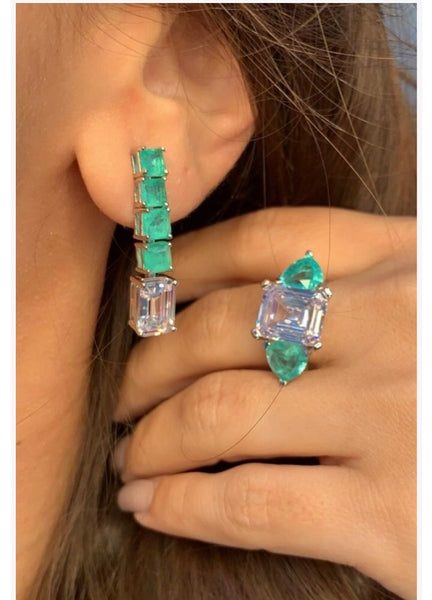Fancy Earrings Green Tourmaline