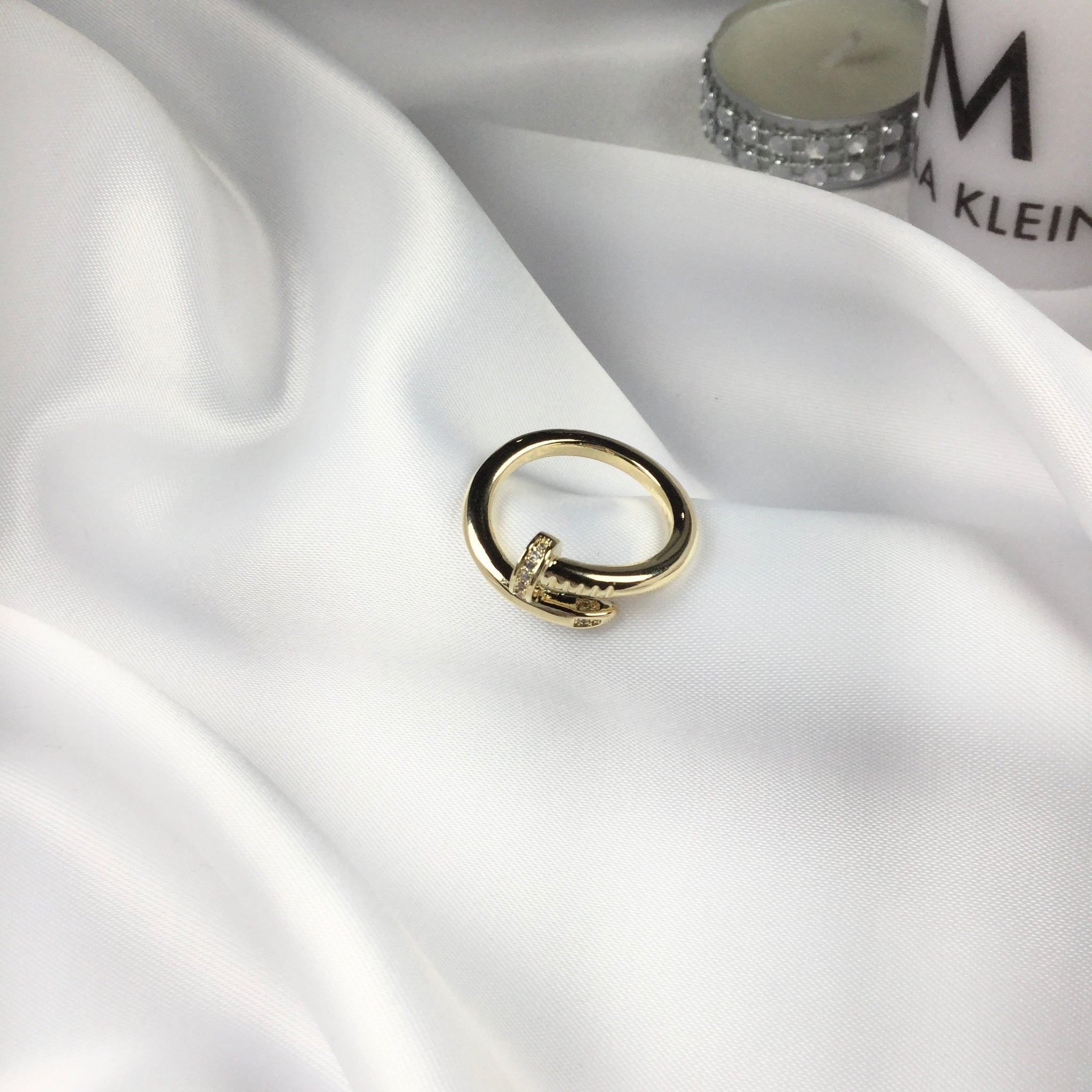 Famous Brand Inspired Nail Ring 18k Gold Plated 7,5 size
