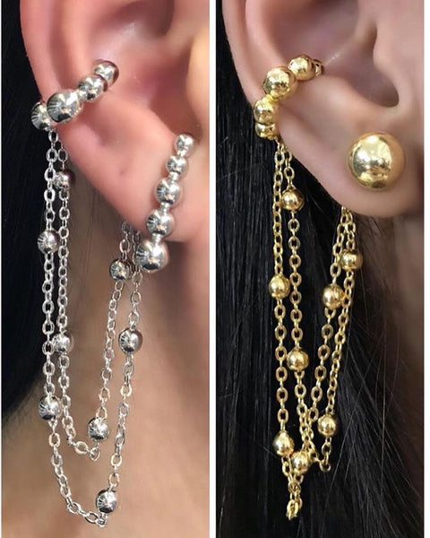 Ear Hook chain + ear cuff gold