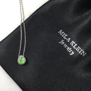 Pear shape Necklace green glow fusion stone