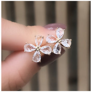 Delicate Flower Earrings Crystal Stone
