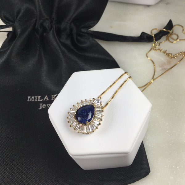 Sapphire fusion Drop Necklace 18K Gold Plated and  baguettes