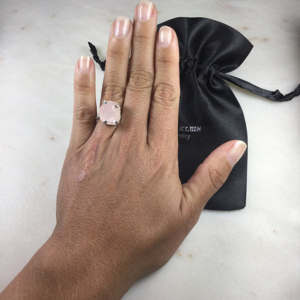 Delicate Pink Quartz Silver Plated simple band Ring Adjustable