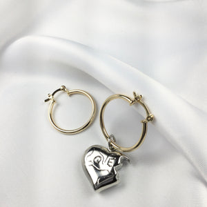 Silver - Heart Bite Hoop Earrings 18k Gold Plated