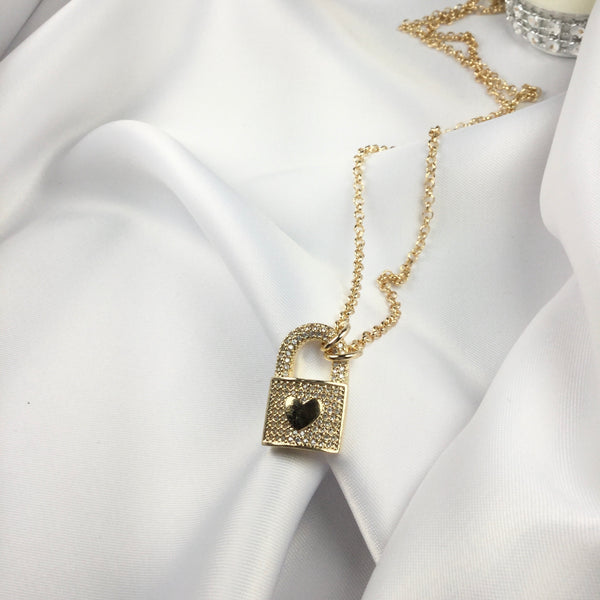 Lock Padlock Necklace 18k Gold Plated and CZ