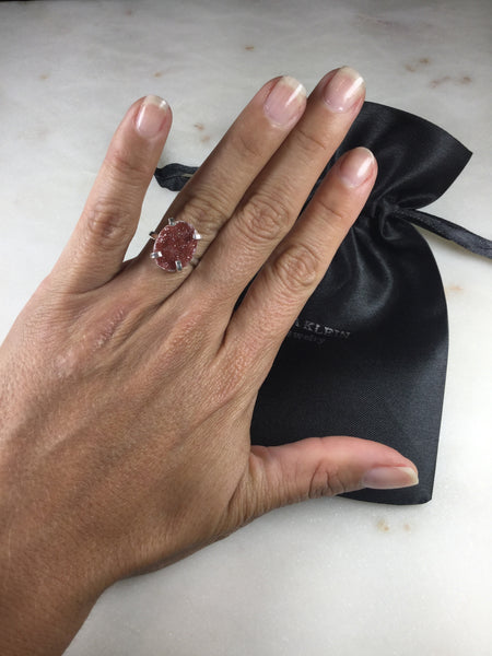 Delicate Copper Druzy Silver Plated simple band Ring Adjustable